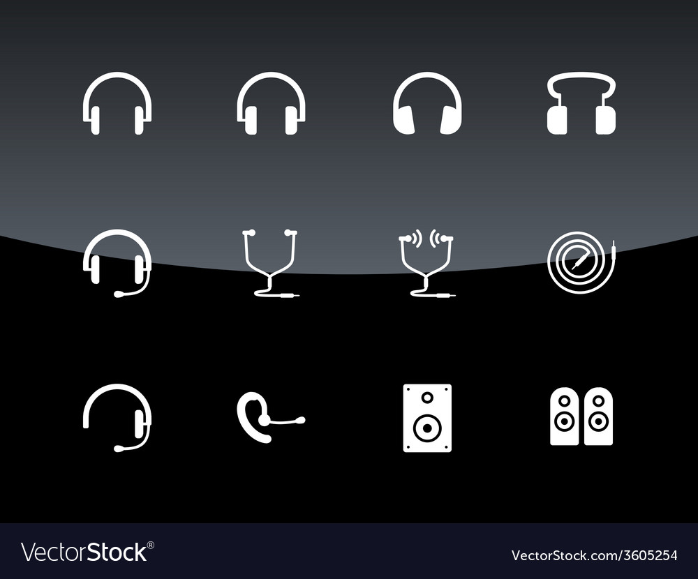 Headset icons on black background vector | Price: 1 Credit (USD $1)