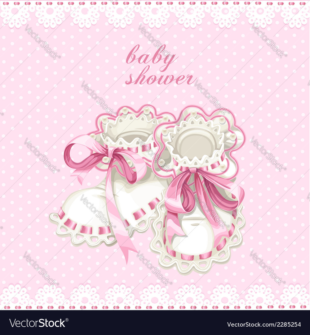 Pink booties for newborn baby shower card vector | Price: 1 Credit (USD $1)
