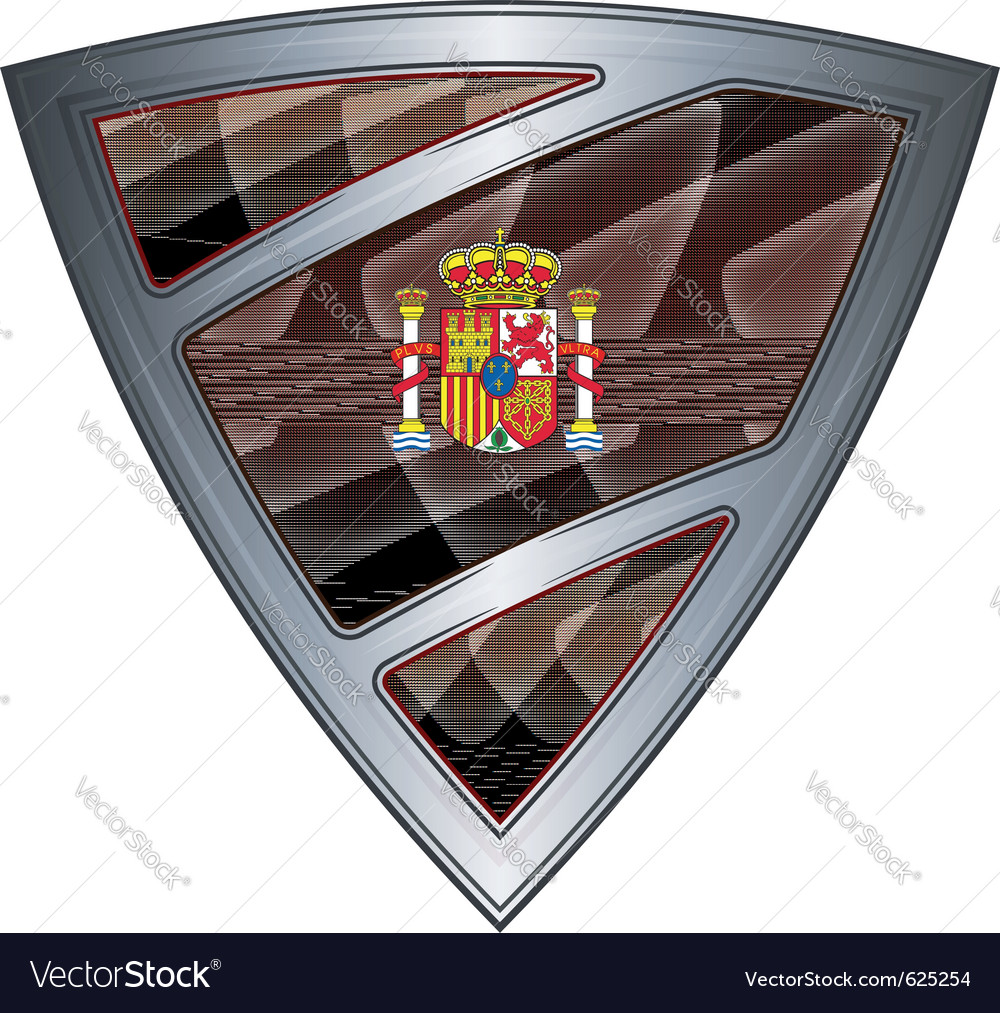 Steel shield with flag kingdom of spain vector | Price: 1 Credit (USD $1)