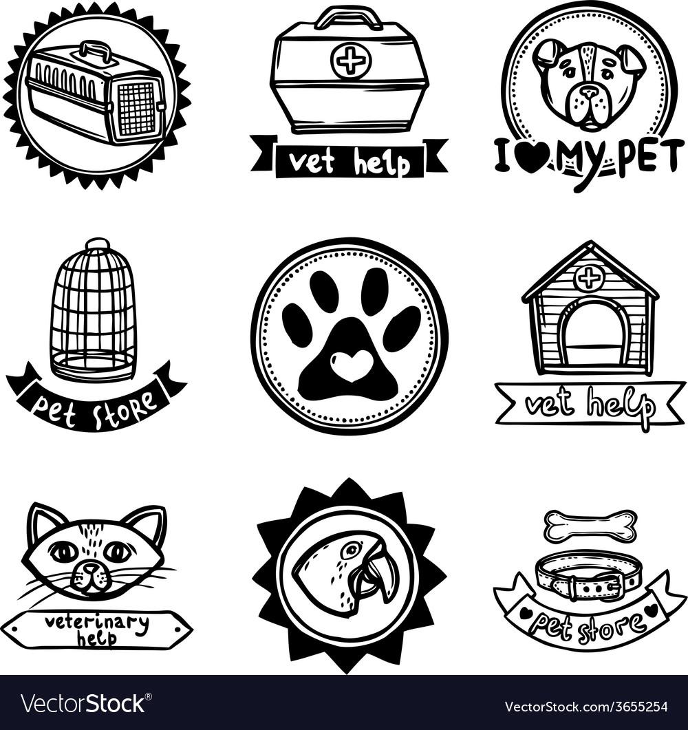 Veterinary emblems set vector | Price: 1 Credit (USD $1)