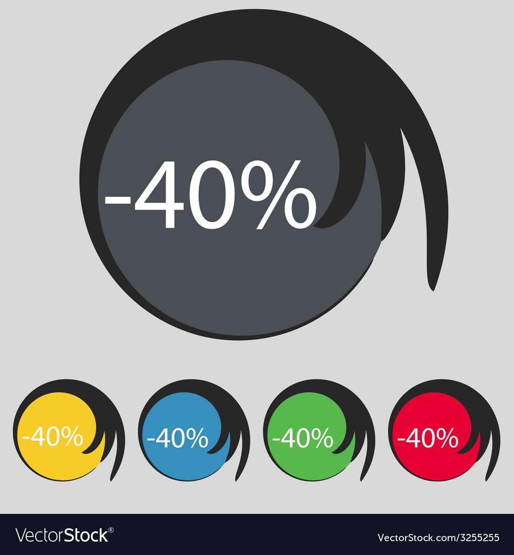 40 percent discount sign icon sale symbol special vector   Price: 1 Credit (USD $1)