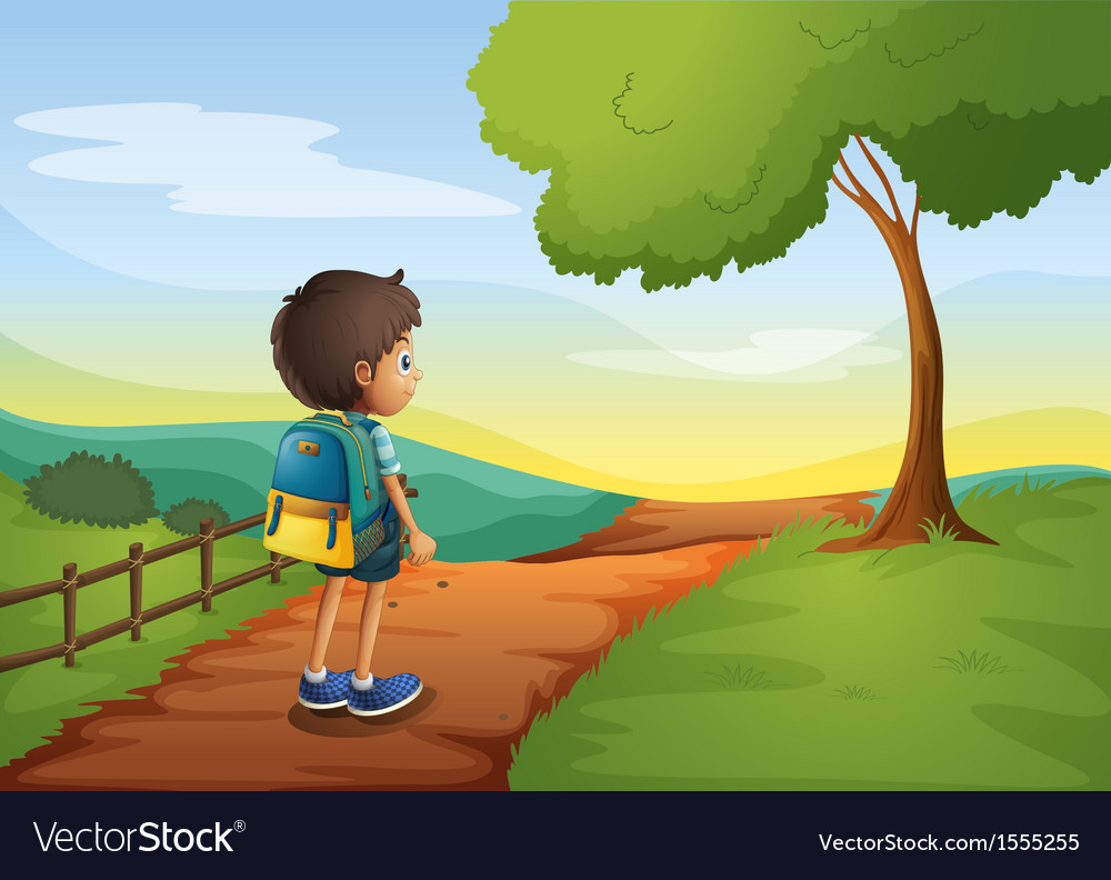 A boy walking while carrying a bag vector | Price: 3 Credit (USD $3)