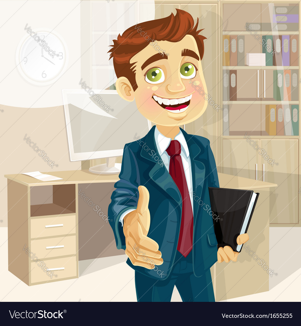 Business man in office with speech bubble gives vector | Price: 3 Credit (USD $3)