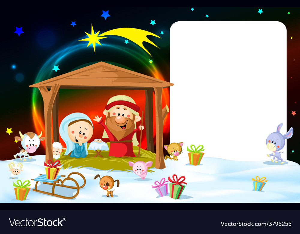 Christmas frame - nativity with lights and cute vector | Price: 1 Credit (USD $1)