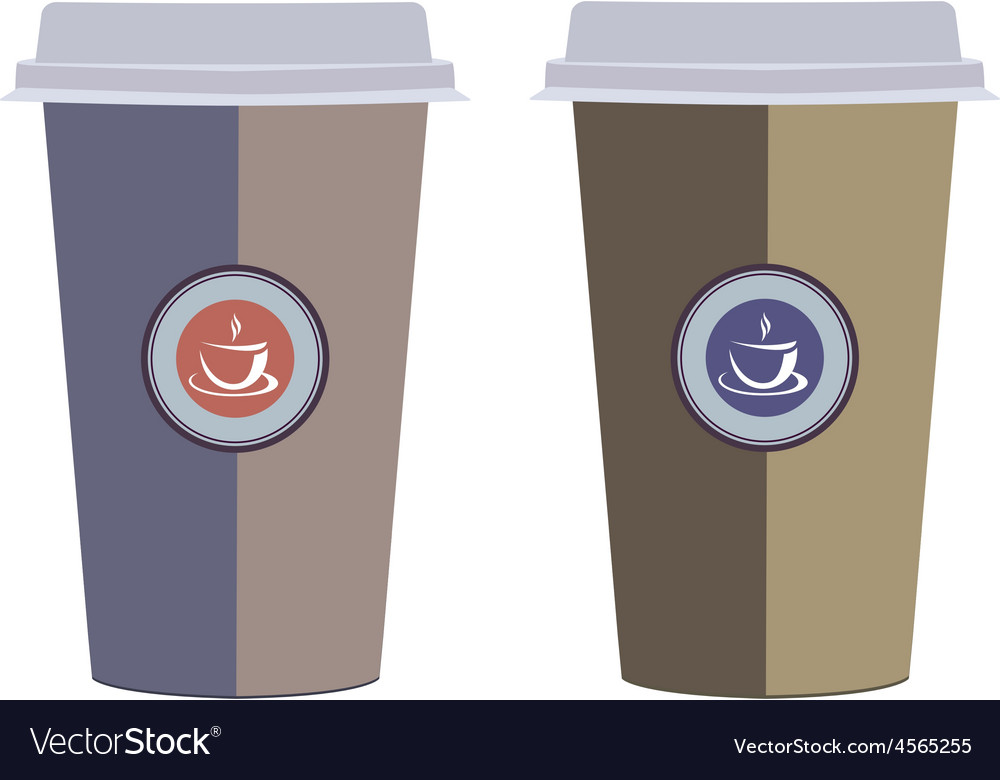 Coffee cups isolated on a white background vector | Price: 1 Credit (USD $1)