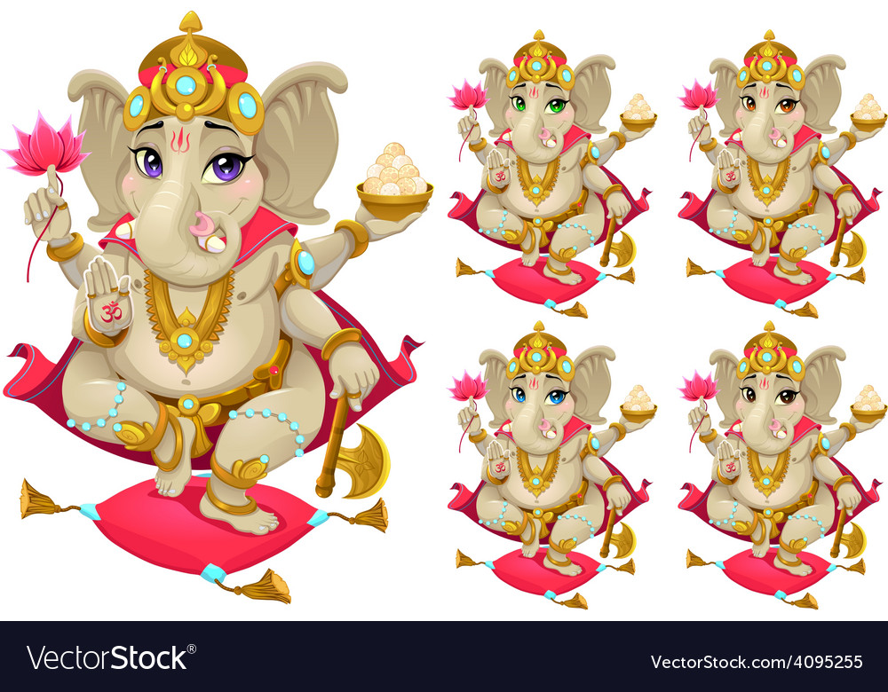 Ganesh in 5 different colors vector | Price: 3 Credit (USD $3)