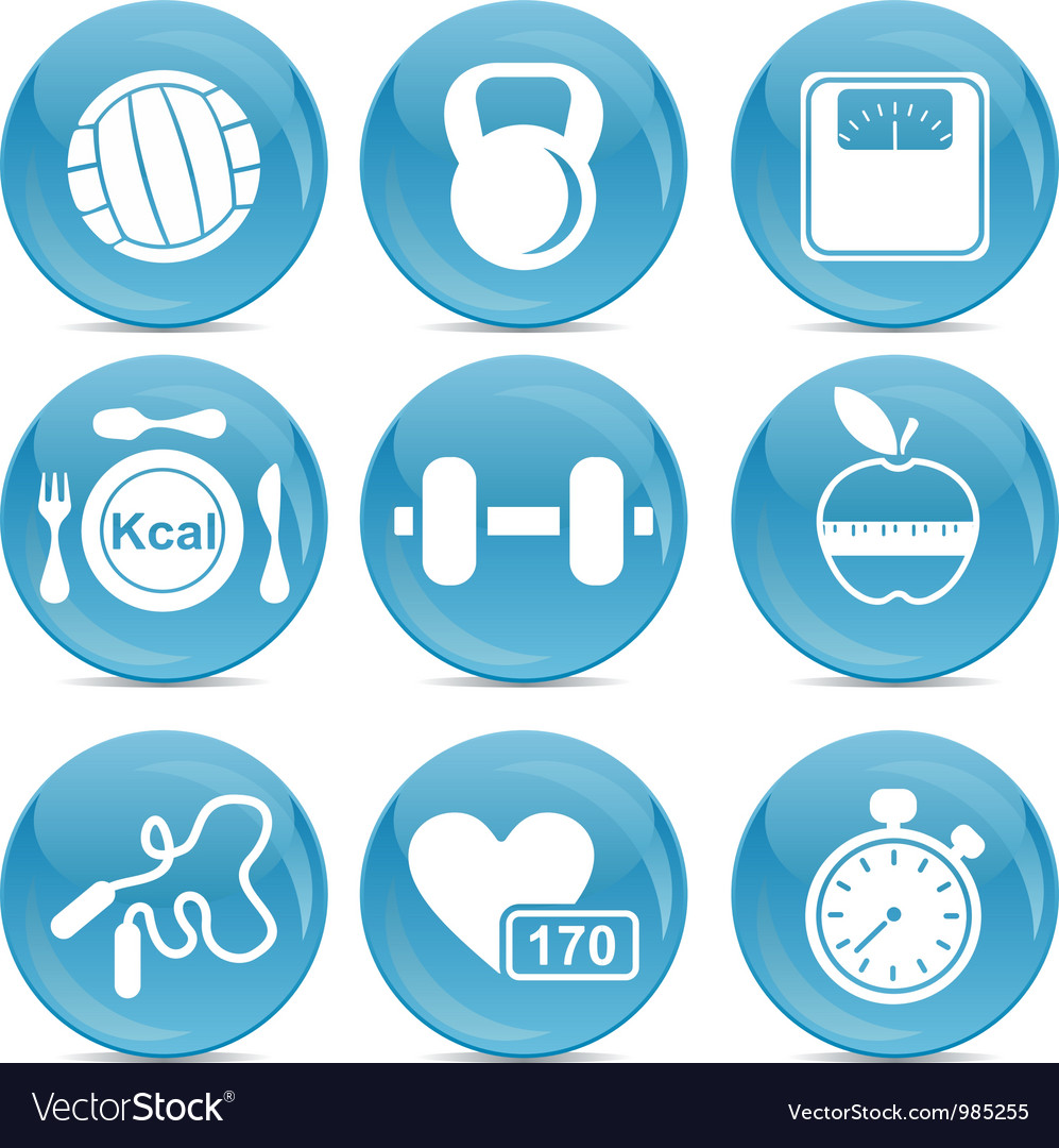Gym and exercise icons vector | Price: 1 Credit (USD $1)