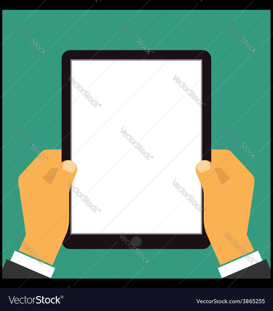 Hand touching blank screen of tablet computer vector | Price: 1 Credit (USD $1)