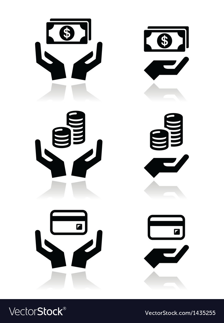 Hands with money icons set vector | Price: 1 Credit (USD $1)