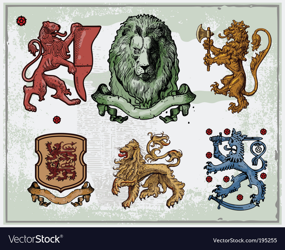 Heraldic lions vector | Price: 1 Credit (USD $1)
