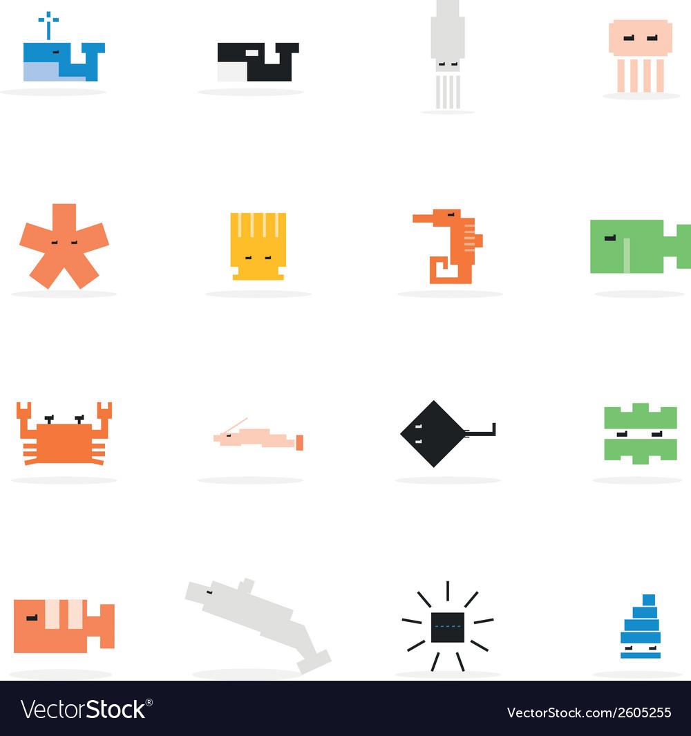 Icon animal marine pixel vector | Price: 1 Credit (USD $1)