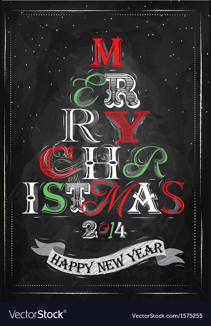 Poster tree christmas happy chalk color vector | Price: 1 Credit (USD $1)