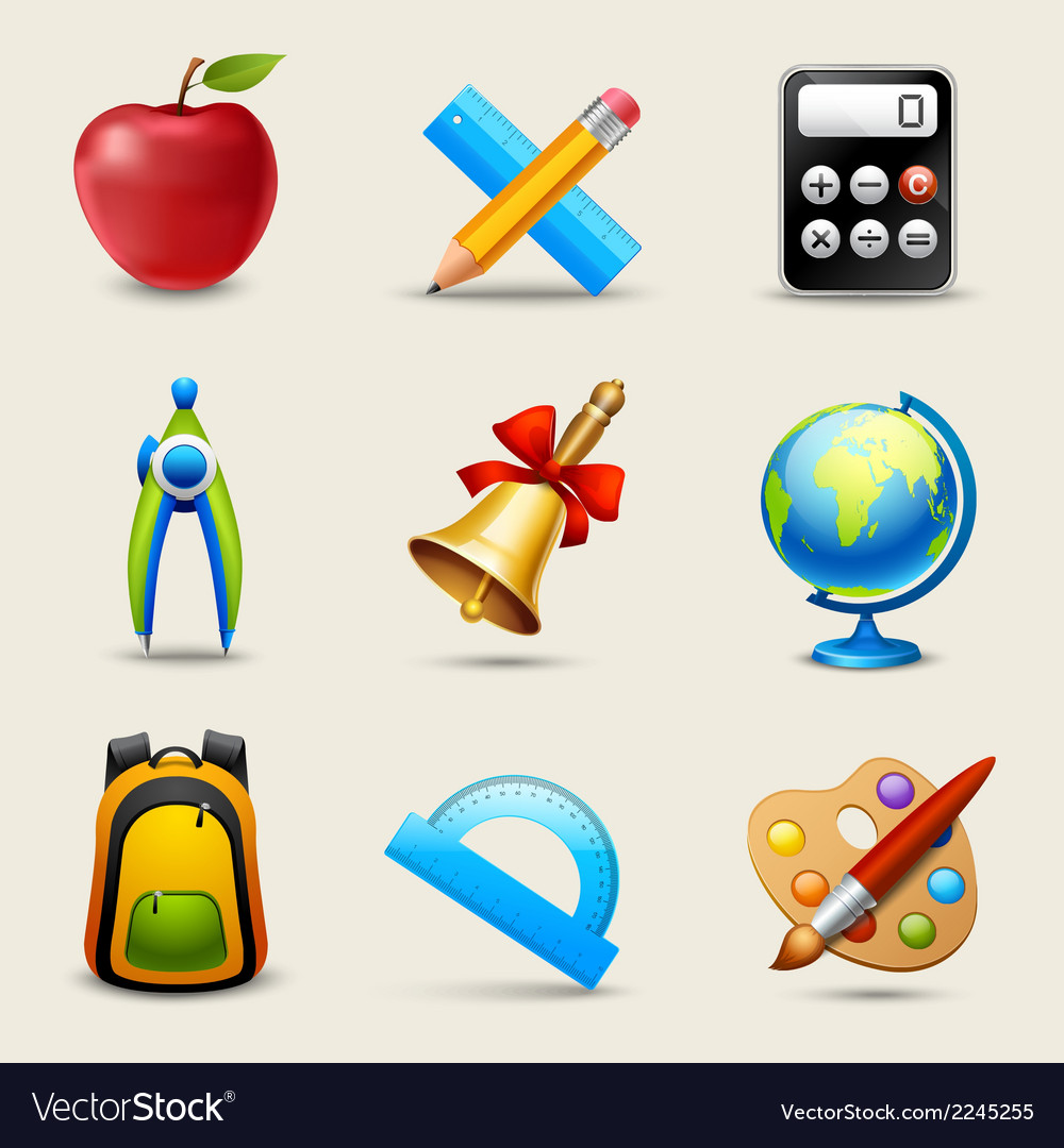 Realistic school icons set vector | Price: 1 Credit (USD $1)