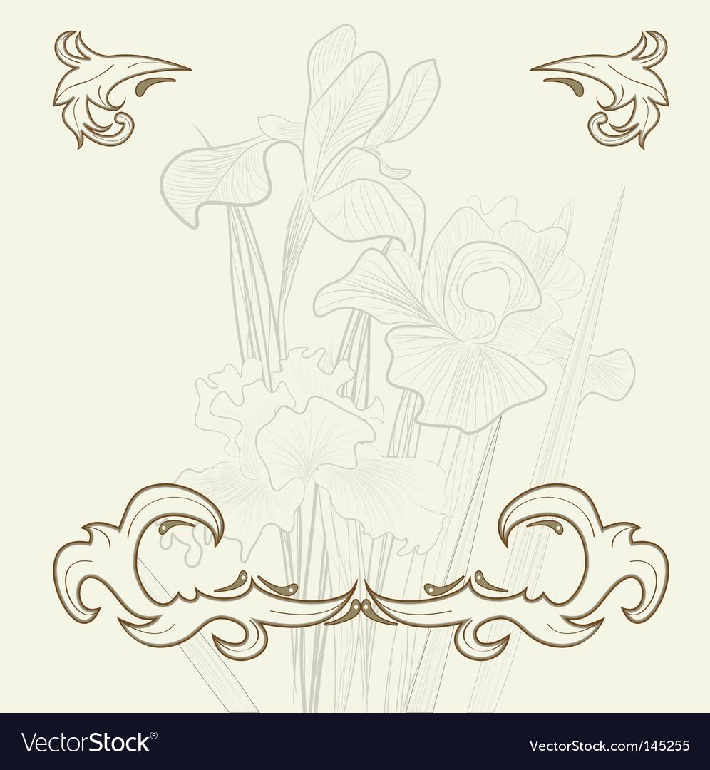Retro background with iris flowers vector | Price: 1 Credit (USD $1)