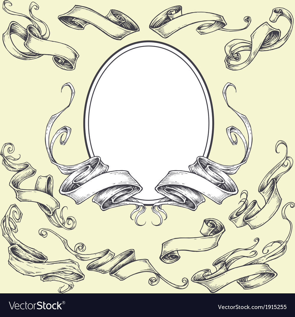 Ribbon frame and border ornaments vector | Price: 1 Credit (USD $1)