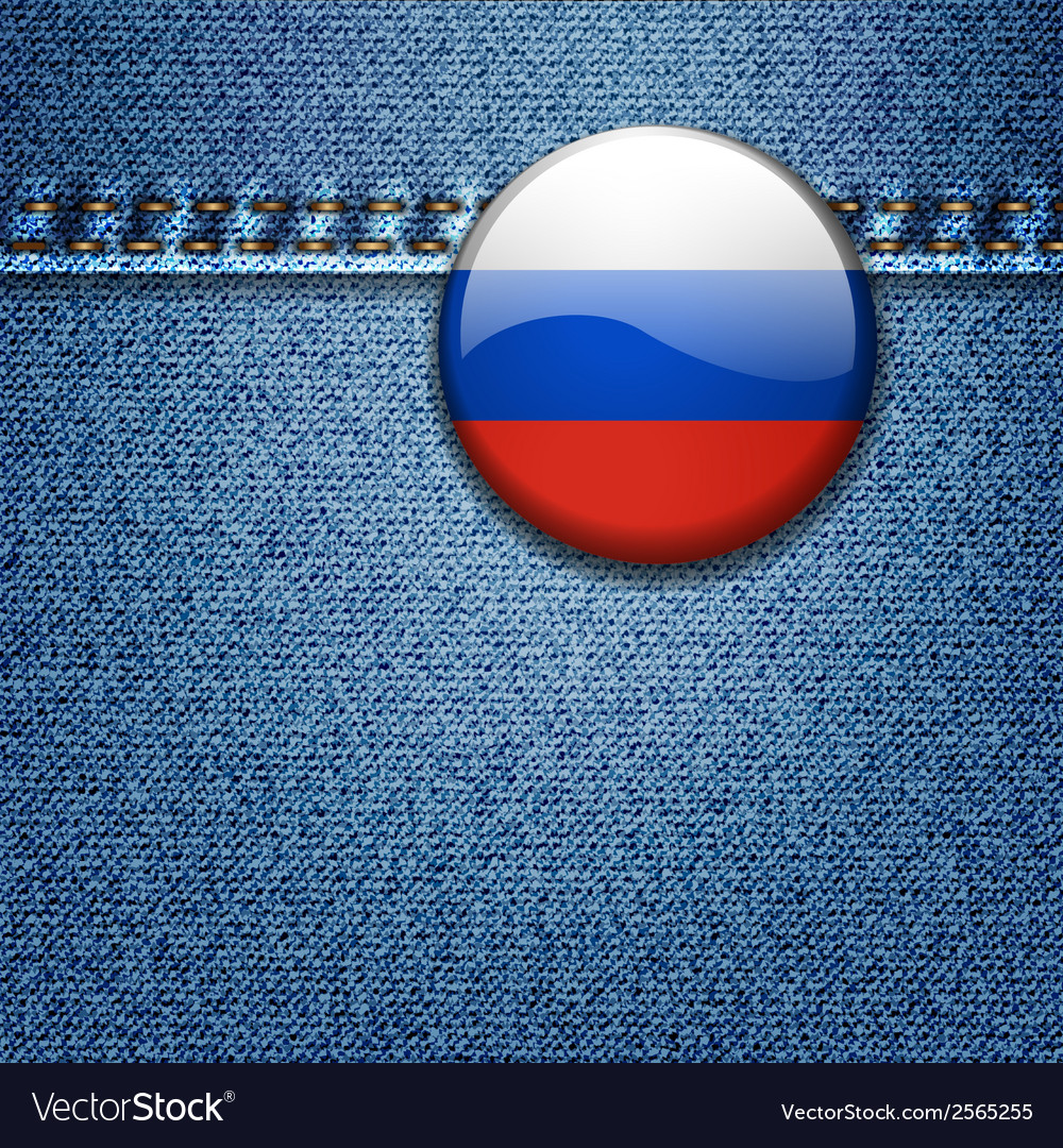 Russian federation flag badge on denim fabric text vector | Price: 1 Credit (USD $1)