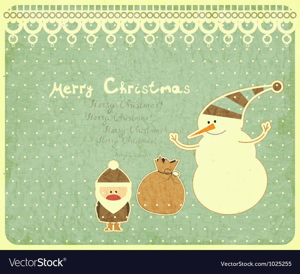 Santa claus snowman and gift bag vector | Price: 1 Credit (USD $1)
