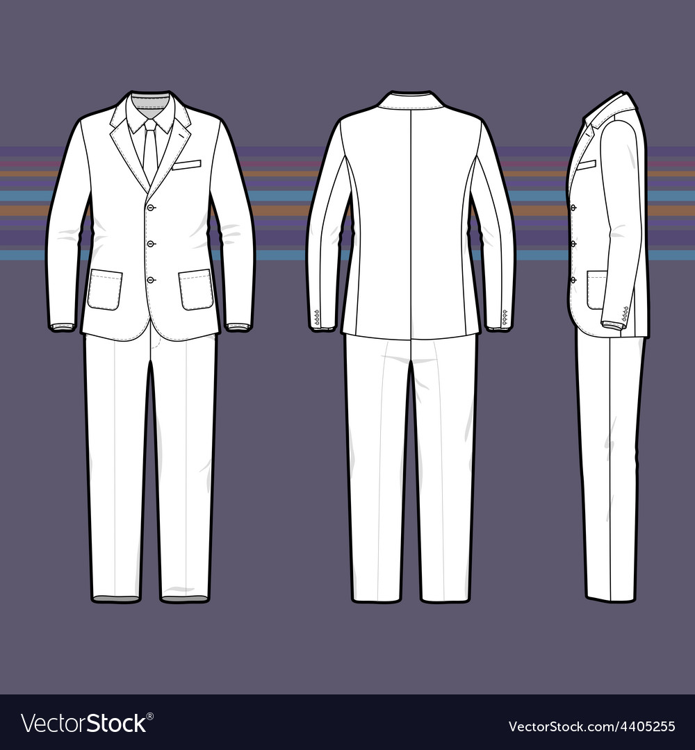 Simple outline drawing of a mens suit vector | Price: 1 Credit (USD $1)