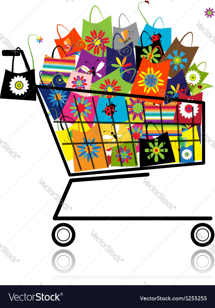 Supermarket cart with shopping bags for your vector | Price: 1 Credit (USD $1)