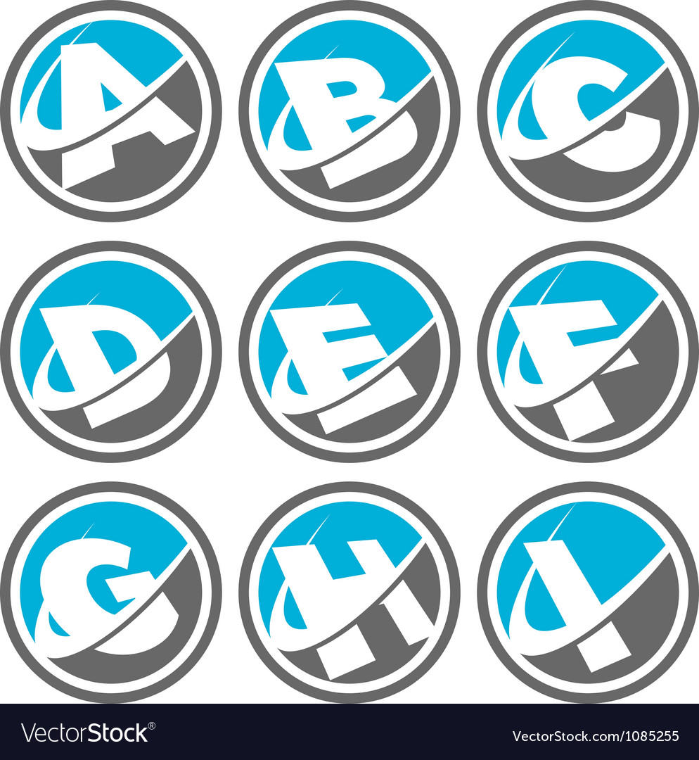Swoosh alphabet icons set 1 vector | Price: 1 Credit (USD $1)