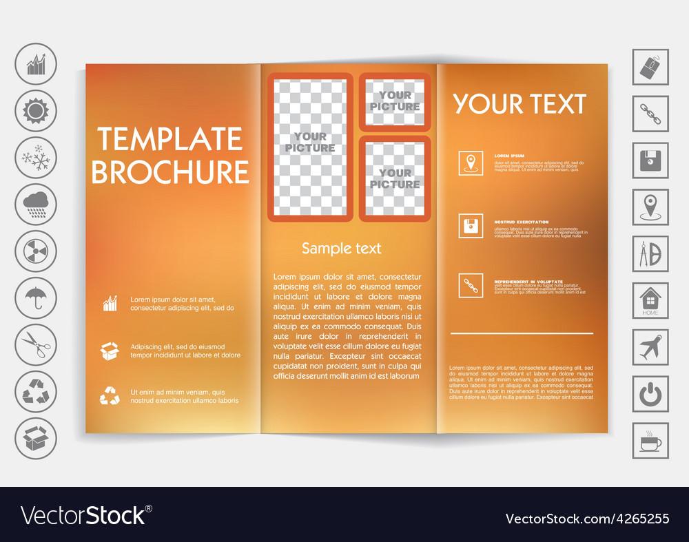 Tri-fold brochure mock up design blur background vector | Price: 1 Credit (USD $1)