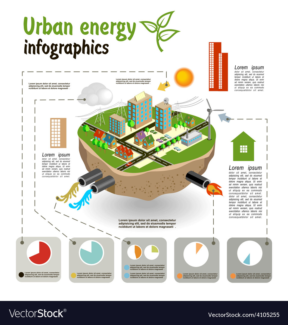 Urban energy infographics template vector | Price: 3 Credit (USD $3)