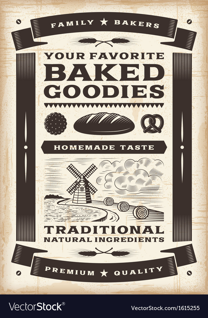 Vintage bakery poster vector | Price: 1 Credit (USD $1)