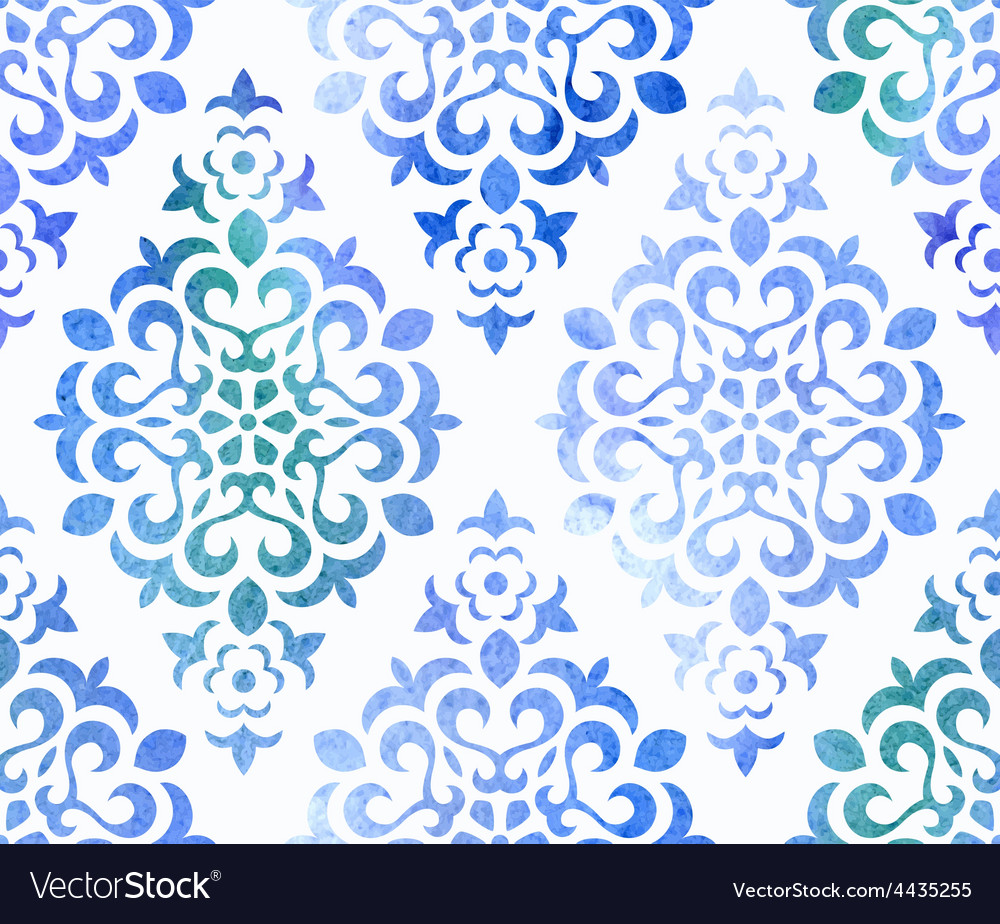 Watercolor seamless floral ornament vector | Price: 1 Credit (USD $1)
