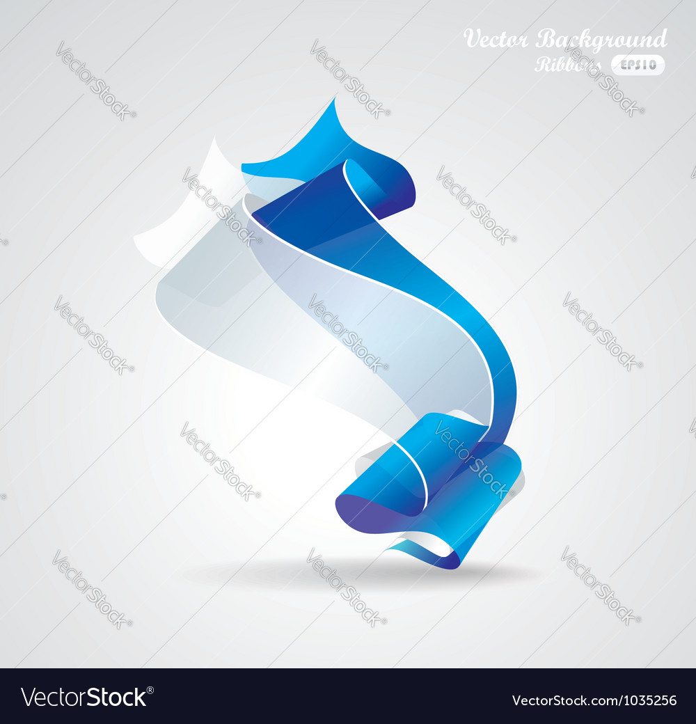 Abstract background with blue and white ribbon vector | Price: 1 Credit (USD $1)