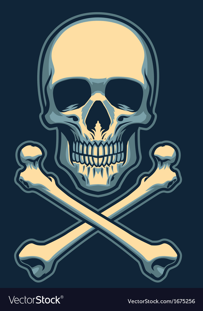 Classic skull with crossed bones vector | Price: 1 Credit (USD $1)