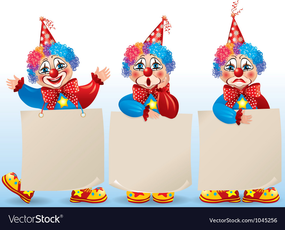 Clown with blank paper in different moods vector | Price: 1 Credit (USD $1)