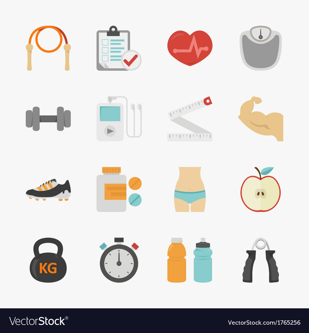 Fitness and health icons with white background vector | Price: 1 Credit (USD $1)