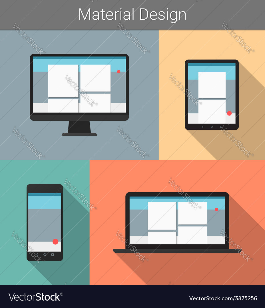Flat modern responsive material design on various vector | Price: 1 Credit (USD $1)