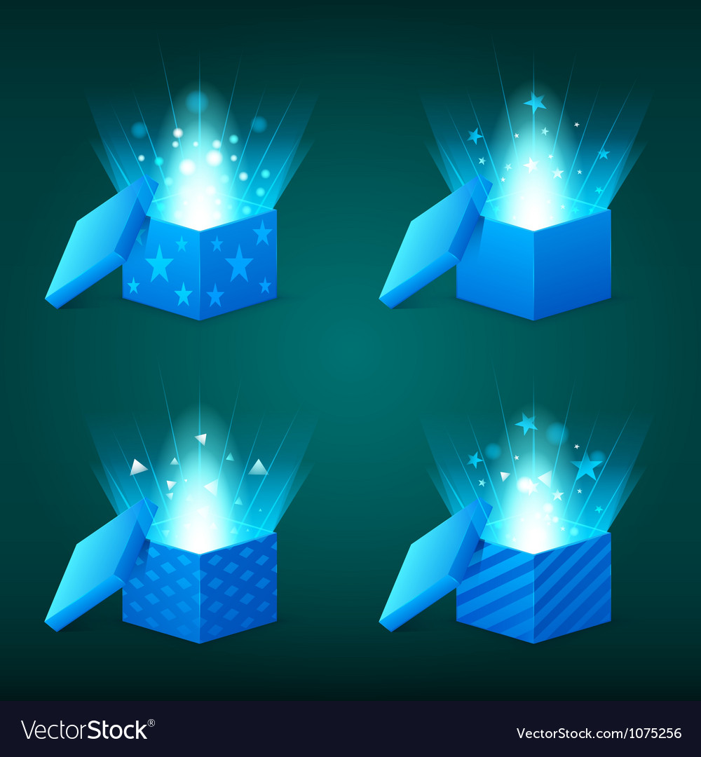 Magical light coming out of the blue gift boxes vector | Price: 1 Credit (USD $1)