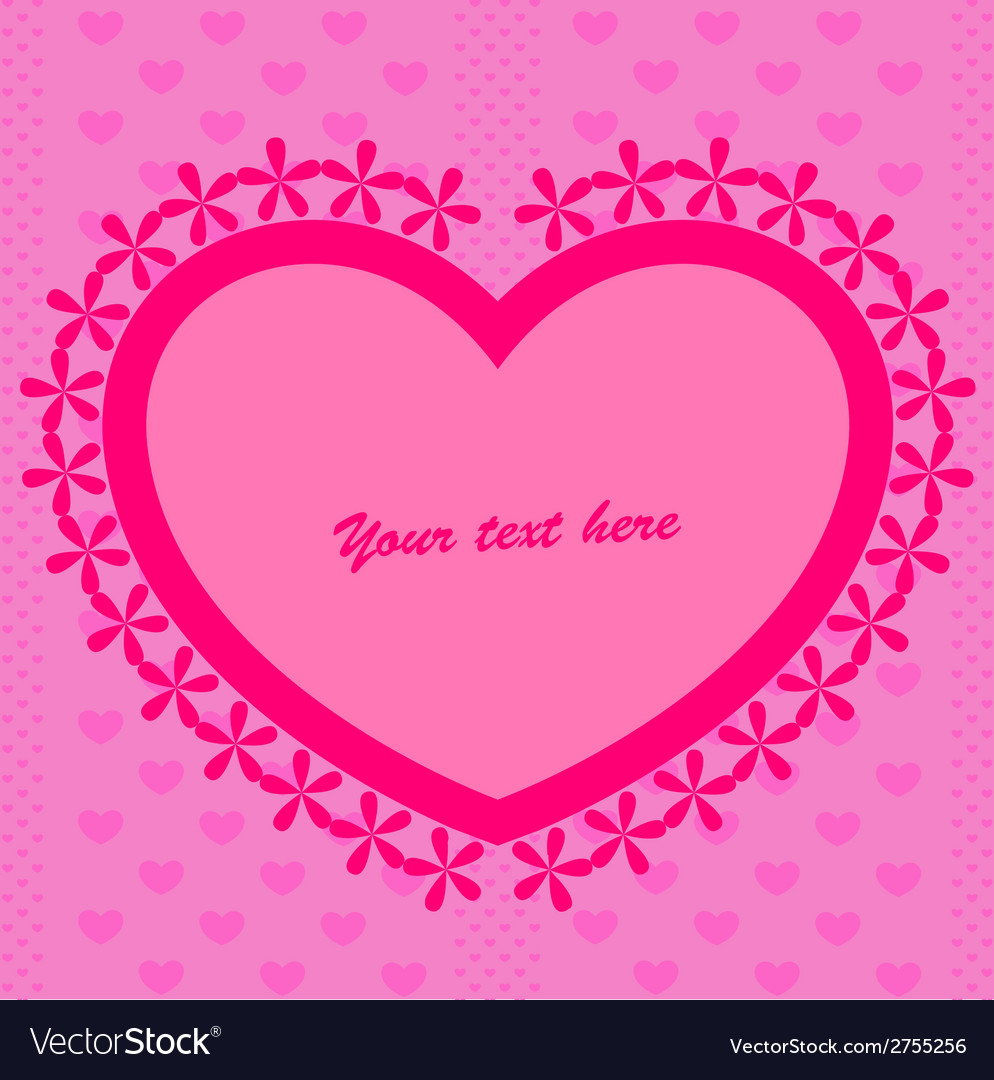 Pink background with heart vector   Price: 1 Credit (USD $1)