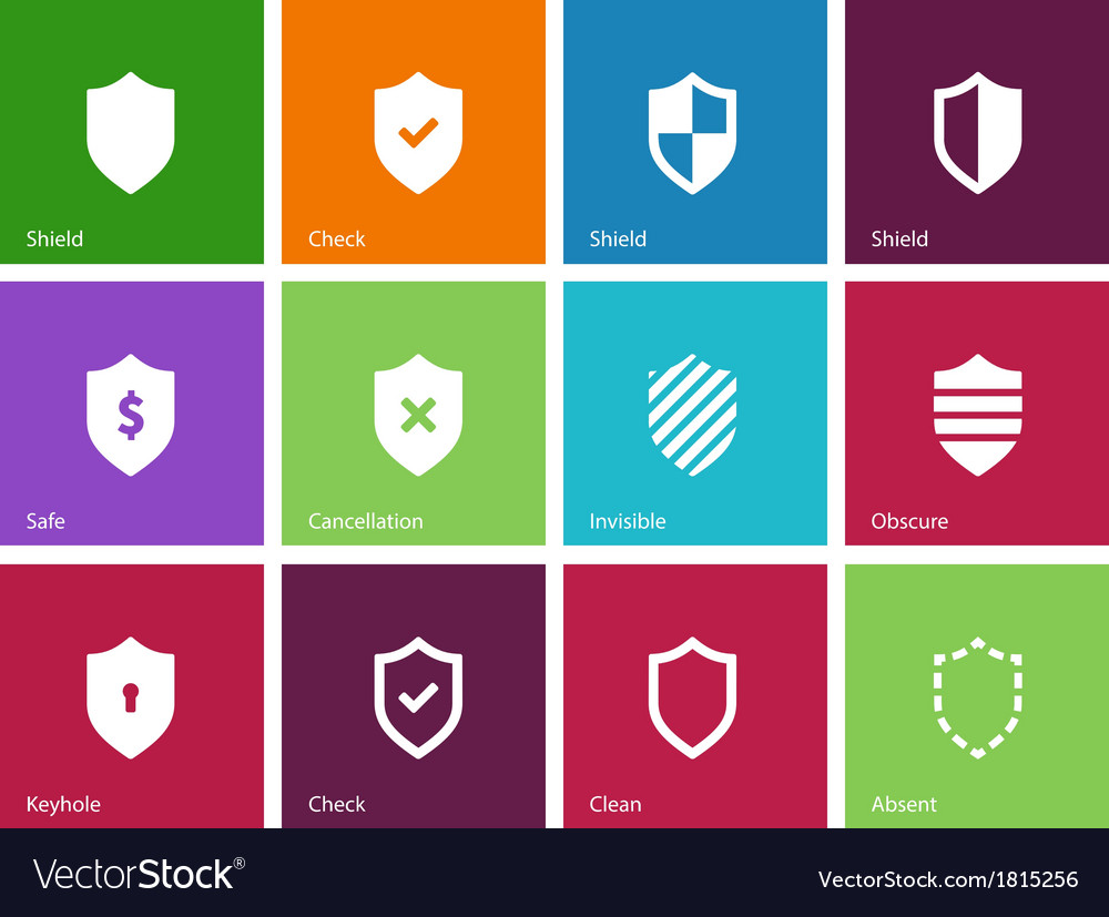 Shield icons on color background vector | Price: 1 Credit (USD $1)