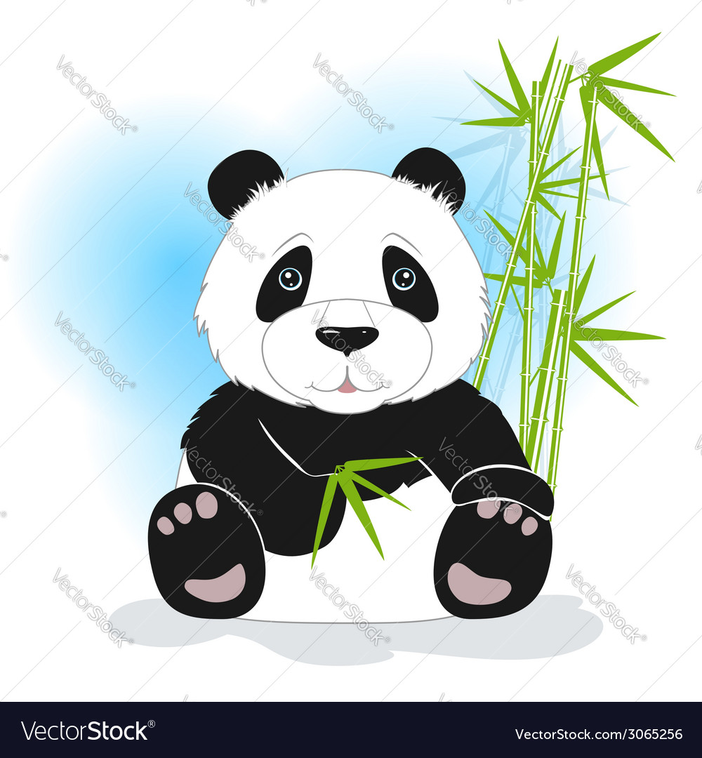 Sitting panda with green bamboo vector | Price: 1 Credit (USD $1)