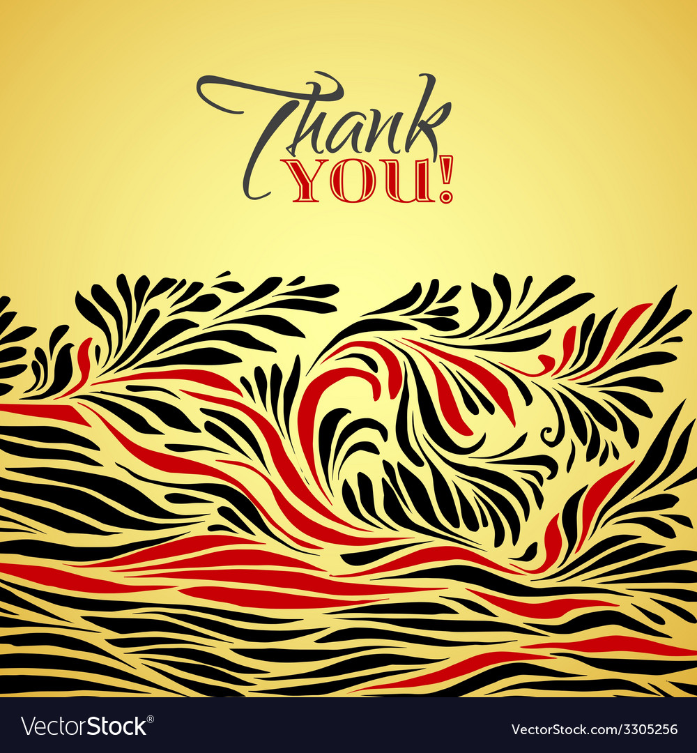 Thank you gold typographic card with ink floral vector | Price: 1 Credit (USD $1)