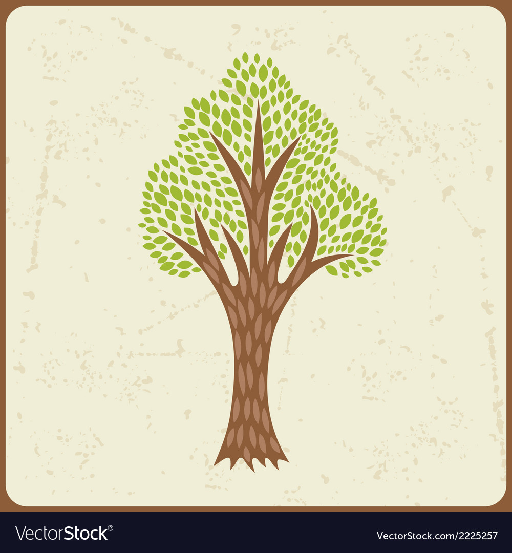 Abstract background with stylized tree in retro vector | Price: 1 Credit (USD $1)