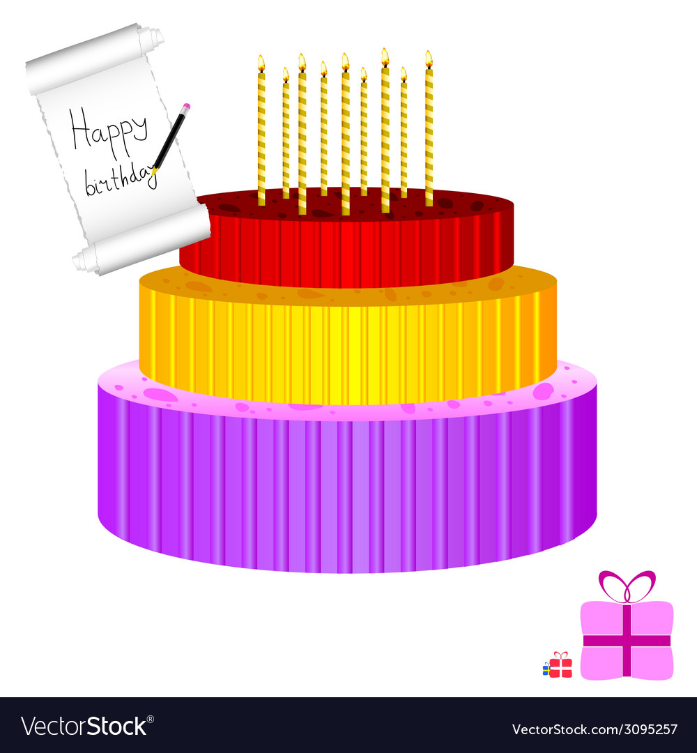 Birthday cake with candle vector | Price: 1 Credit (USD $1)