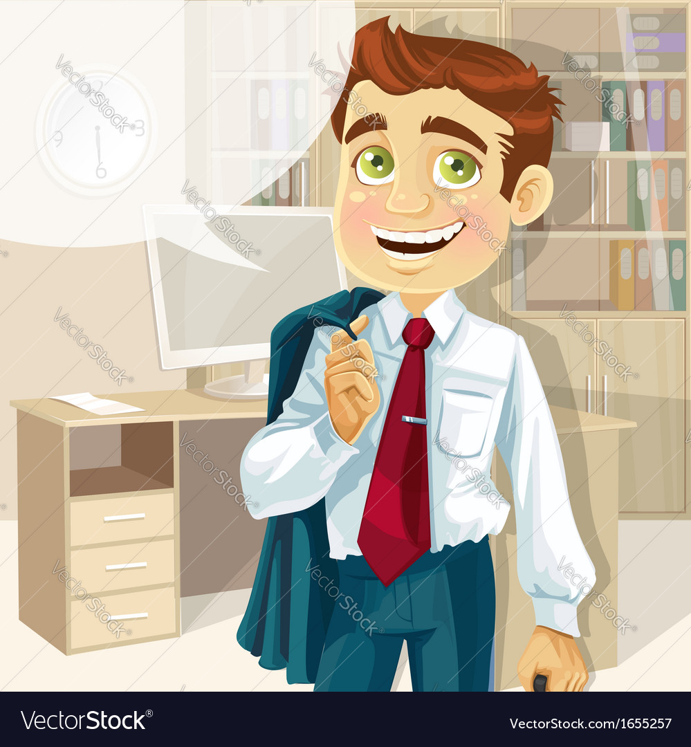 Business man in office with speech bubble gonna go vector | Price: 3 Credit (USD $3)