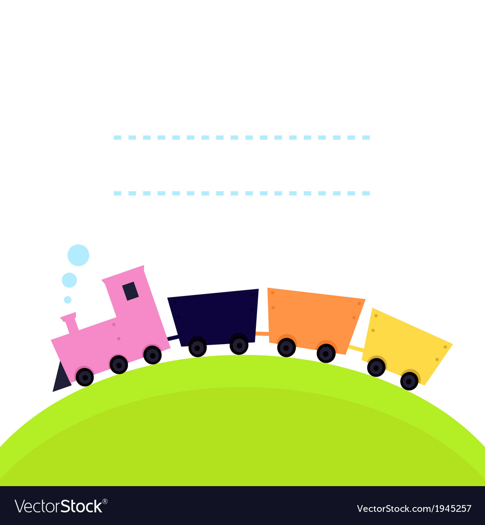 Cute colorful train on hill with copy space vector | Price: 1 Credit (USD $1)