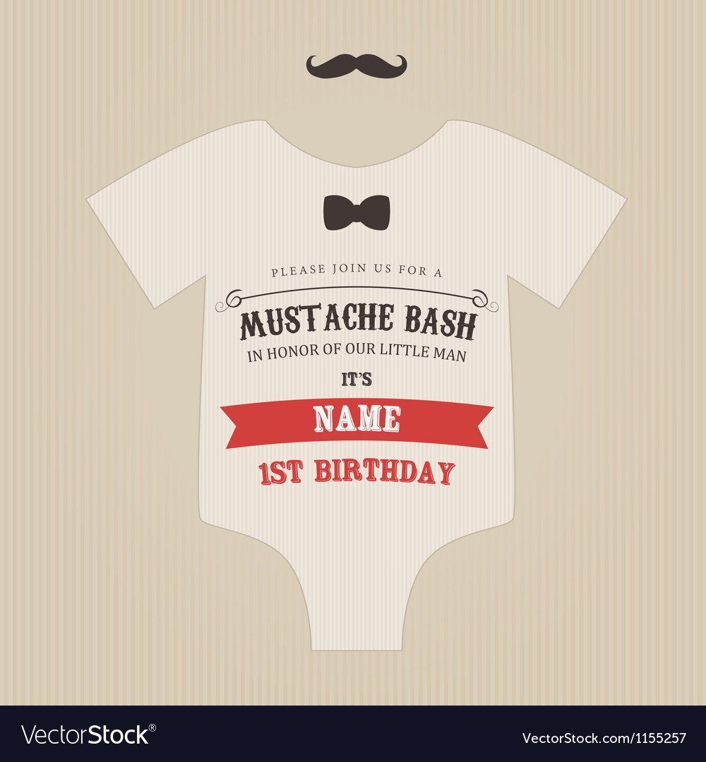Funny vintage baby birthday invitation vector | Price: 1 Credit (USD $1)
