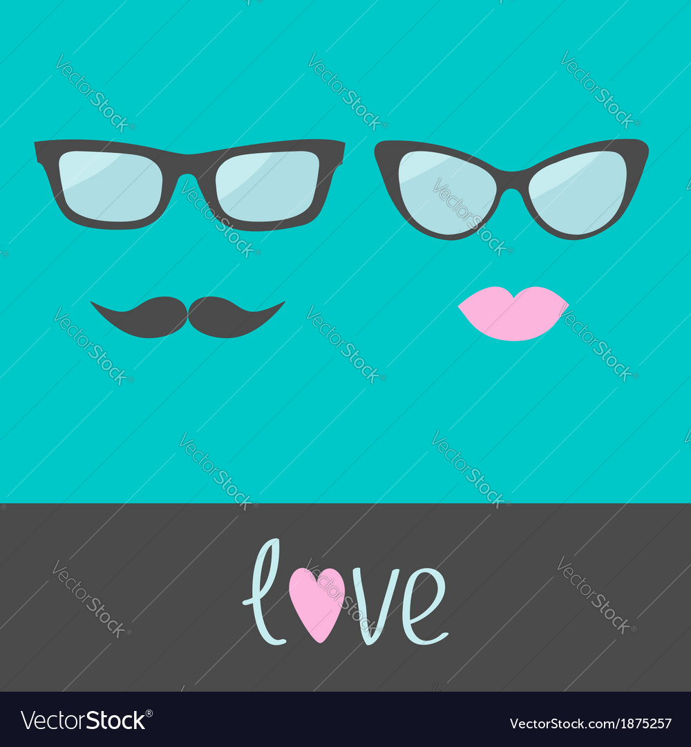 Glasses with lips and moustache flat design vector | Price: 1 Credit (USD $1)
