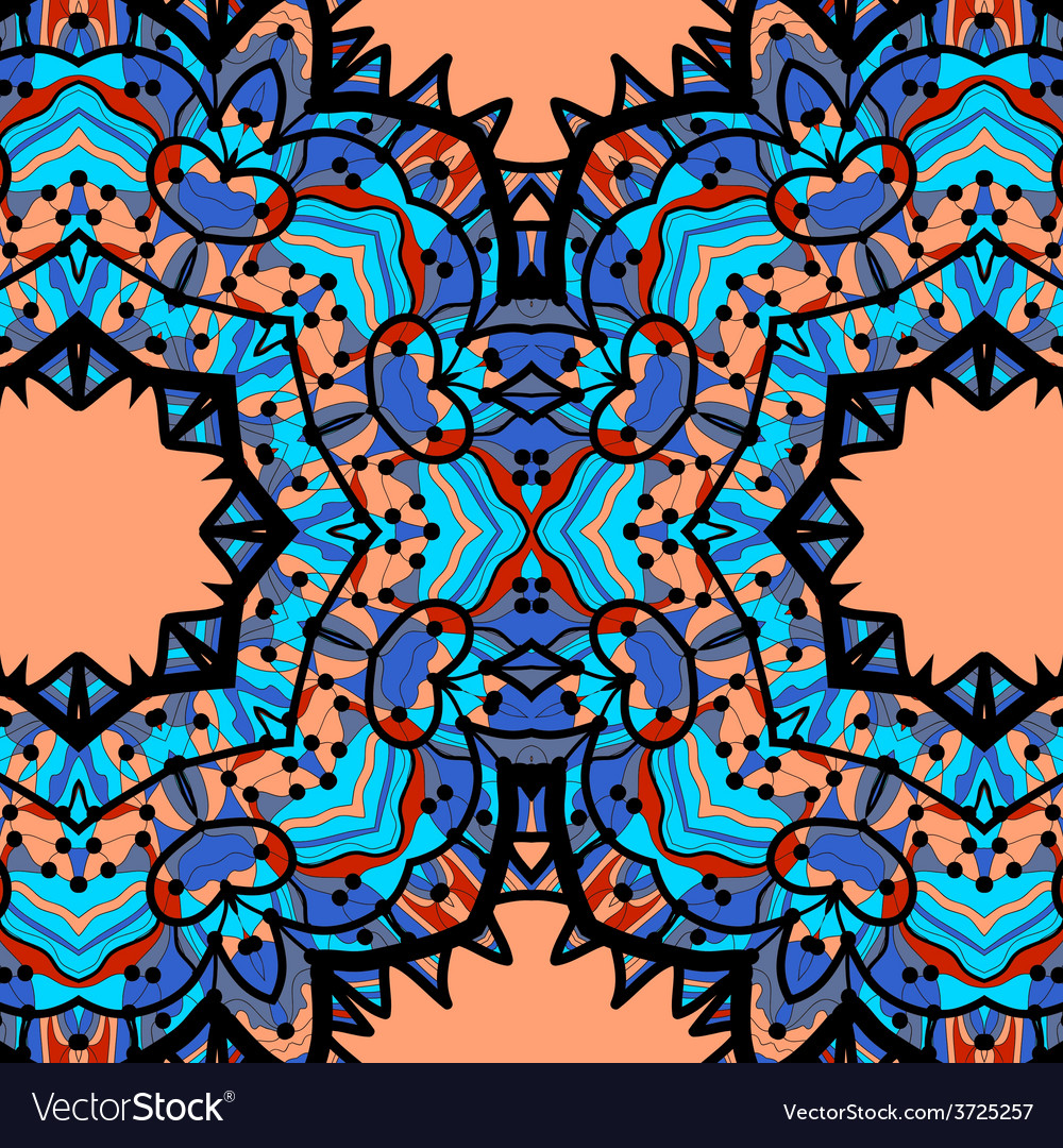 Half-full mandala in blue color over orange vector | Price: 1 Credit (USD $1)