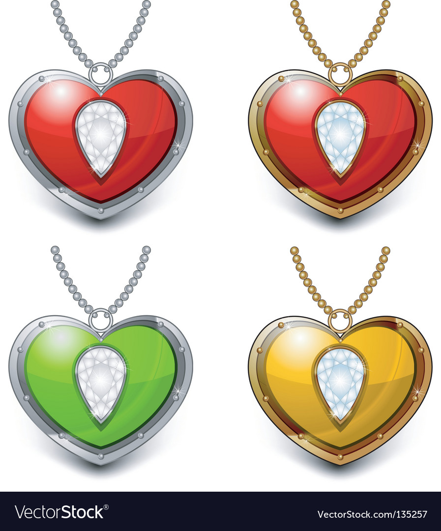 Heart shaped necklace vector | Price: 1 Credit (USD $1)