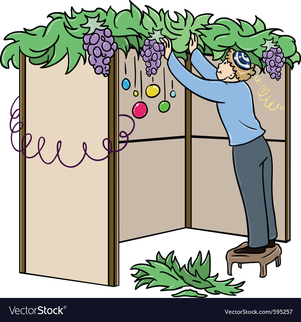 Jewish guy builds sukkah for sukkot vector | Price: 1 Credit (USD $1)