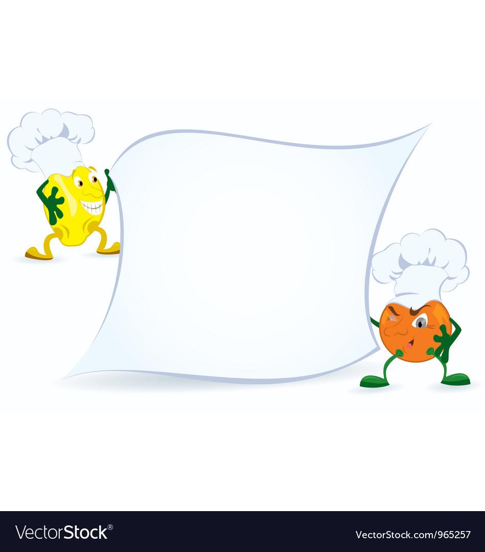 Lemon and orange in chef hat vector | Price: 1 Credit (USD $1)