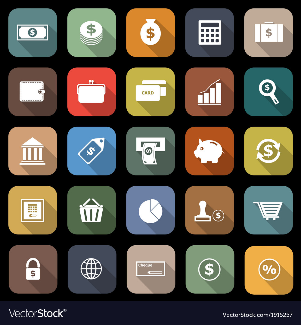 Money flat icons with long shadow vector | Price: 1 Credit (USD $1)