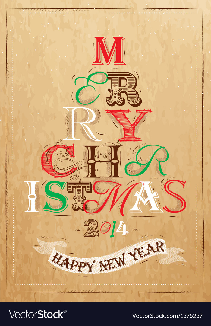 Poster tree christmas happy kraft color vector | Price: 1 Credit (USD $1)